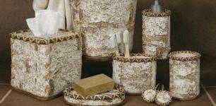 Birch Bark bathroom vanity accessories