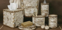 Birch Bark bathroom vanity accessories