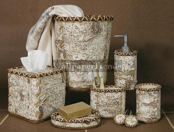 Birch Bark bathroom accessories room shot