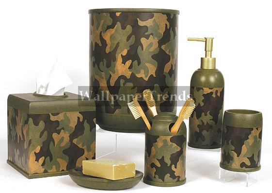 Camouflage bathroom accessories room shot
