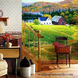 Golden Countryside Mural Full Wall Mural RA0107MRoom Shot