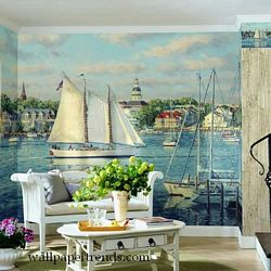 Harbor View Mural Full Wall Mural RA0143MRoom Shot