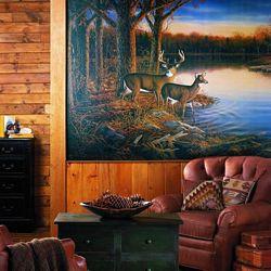 Deer Hunting Cabin Lodge Wall Mural