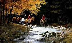 RA0175M Traditional Hunt Scene Mural Full Wall Mural