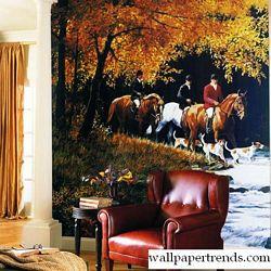 Traditional Hunt Scene MuralFull Wall MuralRA0175MRoom Shot