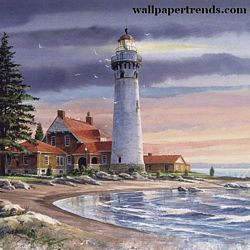 Northern Lighthouse Mural Full Wall Mural RA0191M Northern Lighthouse Mural Full Wall Mural RA0191M