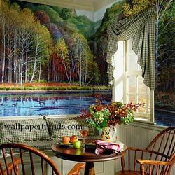 Lake Cabin Lodge Wall Mural