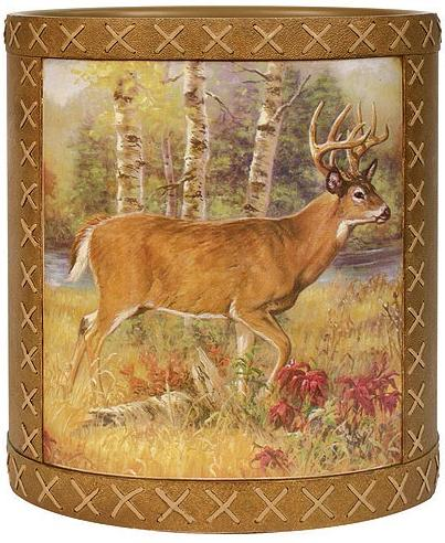 Deer Lodge bathroom designer trash can