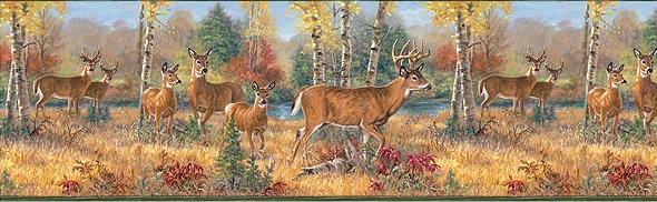 Deer Cabin Bathroom Wallpaper Wall Border