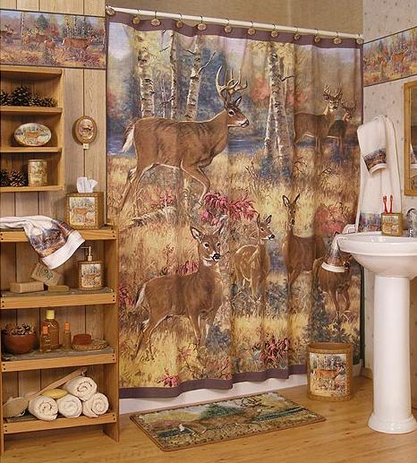 Well-decorated-lodge-style-bathroom-with-white-washbasin-mirror-wooden-shelves-rug-and-beautiful-shower-curtains-with-deers-decoration