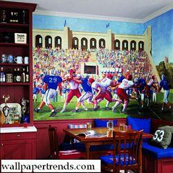 Football Stadium MuralChair Rail Wall MuralIN2676MRoom Shot