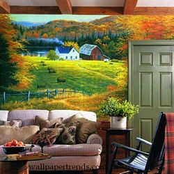 Golden Countryside Mural Chair Rail Wall Mural RA0110MRoom Shot