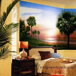 Palmetto Sunrise Mural Chair Rail Wall Mural RA0134MRoom Shot