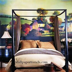 Painterly Landscape Mural Chair Rail Wall Mural RA0140MRoom Shot