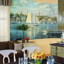 Harbor View MuralChair Rail Wall MuralRA0146MRoom Shot