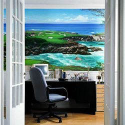 Cypress Point Mural Chair Rail Wall Mural RA0158MRoom Shot