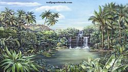 Tropical Lagoon Mural Chair Rail Wall Mural RA0173M Tropical Lagoon Mural Chair Rail Wall Mural RA0173M