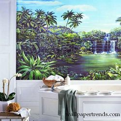Tropical Lagoon Mural Chair Rail Wall Mural RA0173MRoom Shot