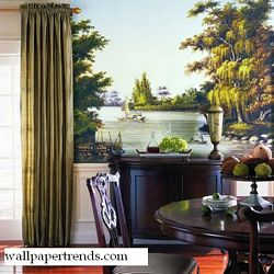 Asian Water Scene Mural Chair Rail Wall Mural RA0182MRoom Shot
