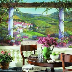 Italian Villa Mural Chair Rail Wall Mural RA0189MRoom Shot
