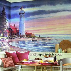 Northern Lighthouse MuralChair Rail Wall MuralRA0193MRoom Shot