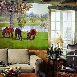 Horse Farm Mural Chair Rail Wall Mural RA0197MRoom Shot
