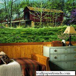 Covered Bridge MuralChair Rail Wall MuralRA0208MRoom Shot