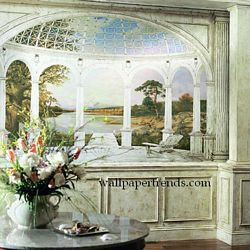 White Arches Mural Chair Rail Wall Mural RA0212MRoom Shot