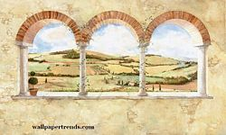 Tuscan Vista Mural Chair Rail Wall Mural UR2000M Tuscan Vista Mural Chair Rail Wall Mural UR2000M