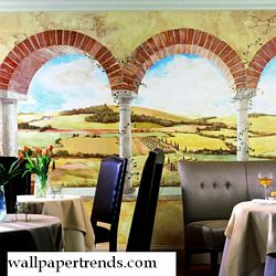 Tuscan Vista Mural Chair Rail Wall Mural UR2000MRoom Shot