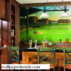 First Pitch Mural Chair Rail Wall Mural UR2024MRoom Shot