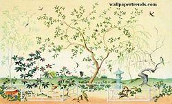 Oriental Garden MuralChair Rail Wall MuralUR2040MOriental Garden MuralChair Rail Wall MuralUR2040M