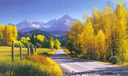 Autumn Landscape MuralChair Rail Wall MuralWG0310MAutumn Landscape MuralChair Rail Wall MuralWG0310M