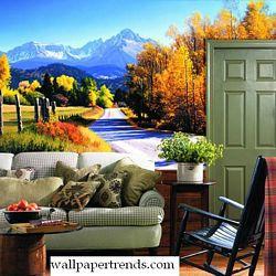 Autumn Landscape MuralChair Rail Wall MuralWG0310MRoom Shot
