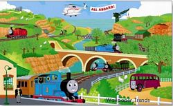 Thomas & Friends Mural Chair Rail Wall Mural YH1418M Thomas & Friends Mural Chair Rail Wall Mural YH1418M