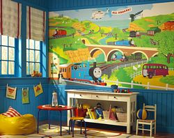 Thomas & Friends Mural Chair Rail Wall Mural YH1418MRoom Shot