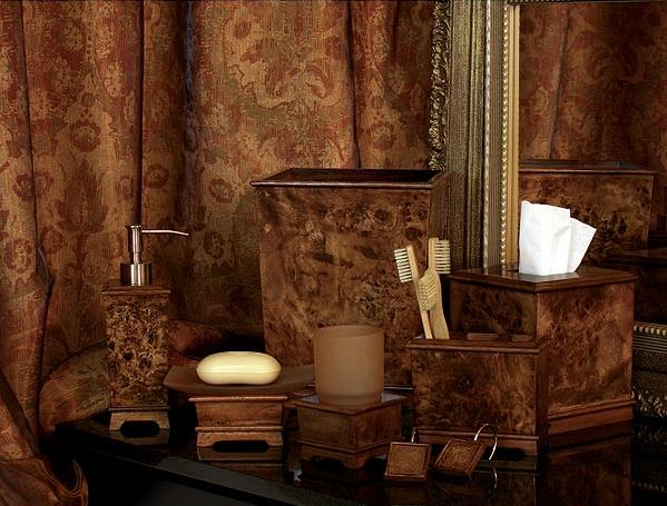 Hardwood Burl  bathroom Accessories Set