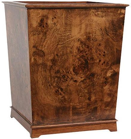 Hardwood Burl bathroom designer trash can