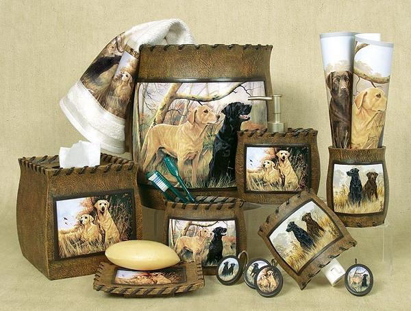 hunting dogs cabin lodge bathroom accessories rugs mats