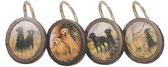 Elegant Hunting Dogs Bathroom Shower Curtain Hooks