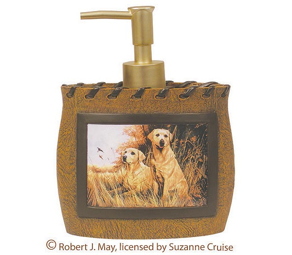 Name cabin lodge bathroom accessories soap dispenser free for Hunting bathroom accessories