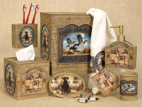 Hunting Lodge Cabin  bathroom Accessories Set