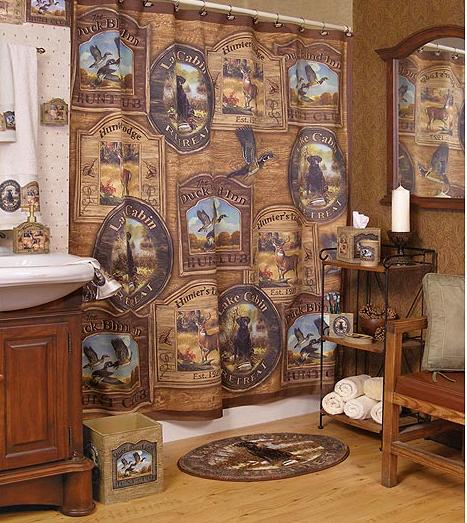 Hunting Lodge Cabin bathroom HUNTING CABIN LODGE DECOR BATHROOM ACCESSORIES--HUGE  PRODUCT
