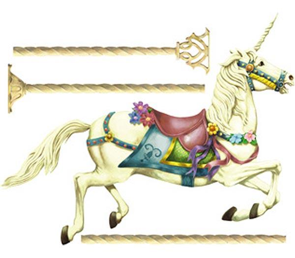 Unicorn Carousel Horse Wall Mural