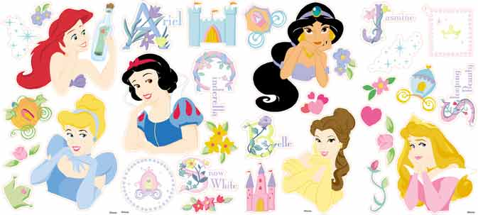 Cinderella, Snow White, Aurora/Sleeping Beauty, Belle, Ariel and Jasmine