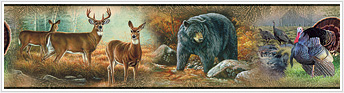 Lodge and Cabin Accessories wildlife wallpaper border