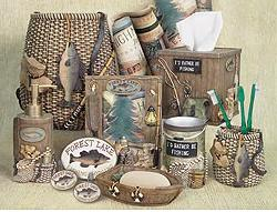 pine cone lodge bathroom accessories room shot