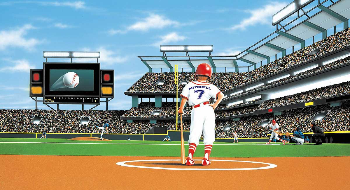 Mlb baseball home decor batter up baseball stadium wall for Baseball field mural