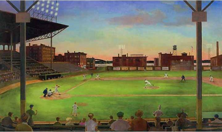 First Pitch Under the Lights in the Baseball Stadium Chair Rail Wall Mural UR2024M