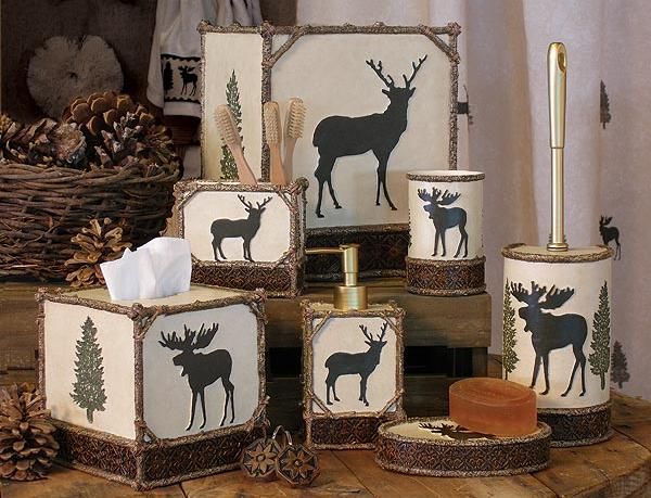 Moose Cabin  bathroom Accessories Set